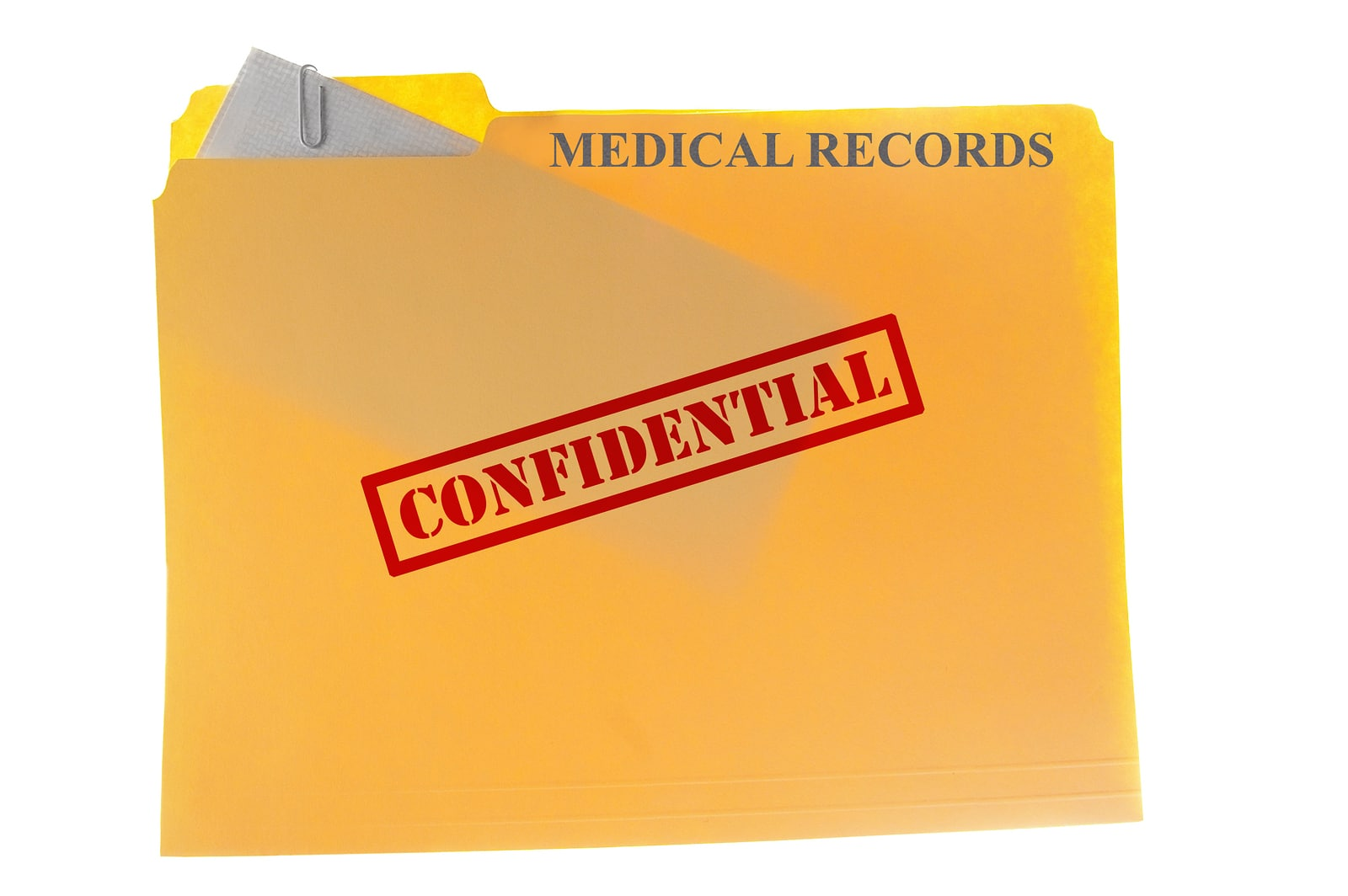 Medical records envelope attached to a file-folder with Confidential text isolated on white