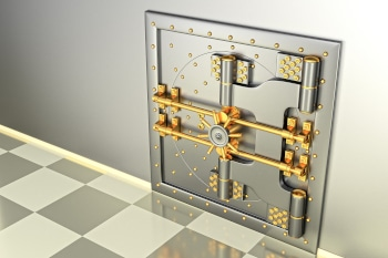 Front view of light gold bank vault door, closed. The door to the bank vault with a lot of secret mechanisms and passwords. 3D Render